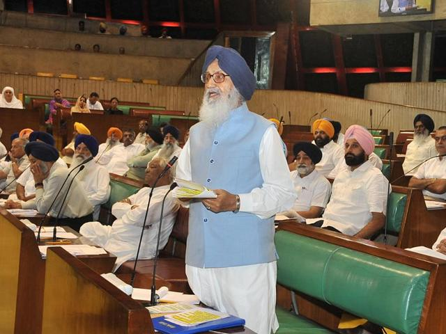 Chief minister Parkash Singh Badal addressing the House on Thursday.