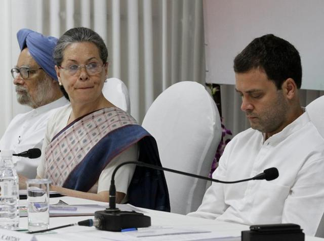 Congress vice-president Rahul Gandhi with party chief Sonia Gandhi and former prime minister Manmohan Singh.