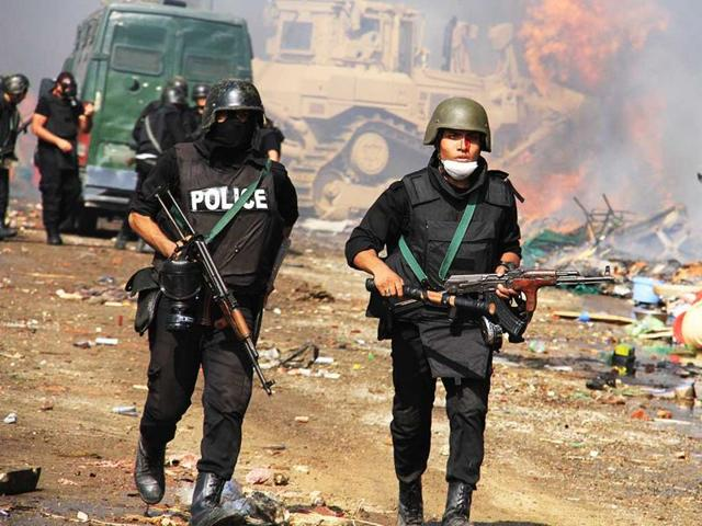 Egyptian security forces in Cairo.