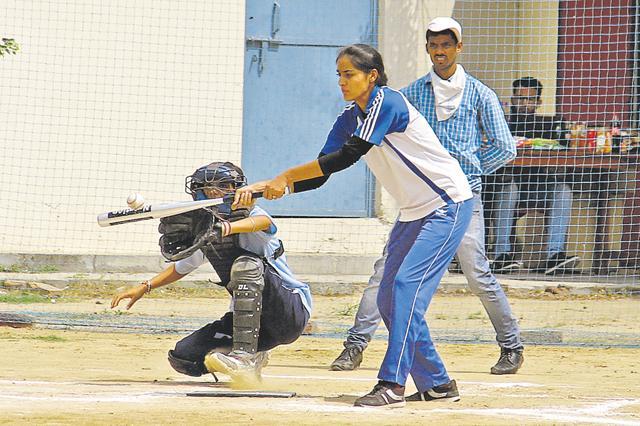 10th Senior District Baseball championship underway at Guru Nanak Khalsa College For Women in Model Town, Ludhiana on Friday.