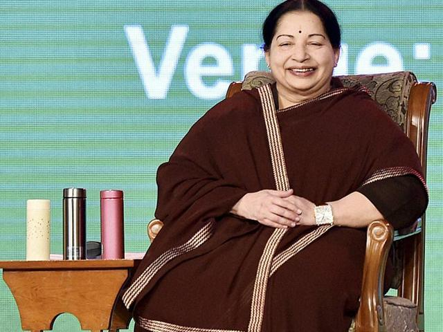 Tamil Nadu chief minister J Jayalalithaa at the valedictory session of Global Investors Meet (GIM) 2015 at Trade Centre in Chennai.