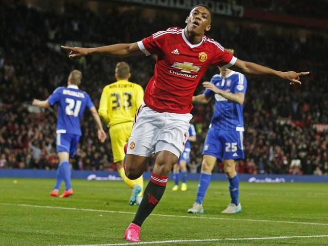 Anthony Martial celebrates after scoring the third goal for Manchester United against Ipswich Town in the League Cup third round, on September 23, 2015.