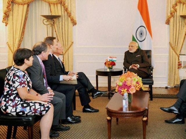 Prime Minister Narendra Modi poses for a group photo after an interaction with CEOs of America in New York on Thursday.