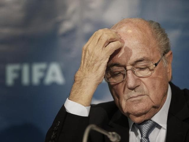 Uefa president Michel Platini (R) and Fifa president Sepp Blatter seen in this file photo taken on May 29, 2015.