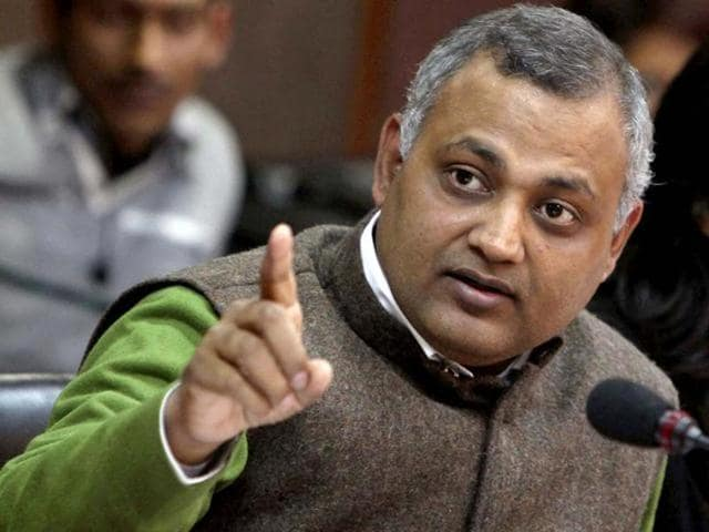 AAP leader and former Delhi law minister Somnath Bharti. Delhi Police have filed a supplementary chargesheet against Bharti over allegations that he molested several African women during a midnight raid  he conducted last year in his capacity as law minister.