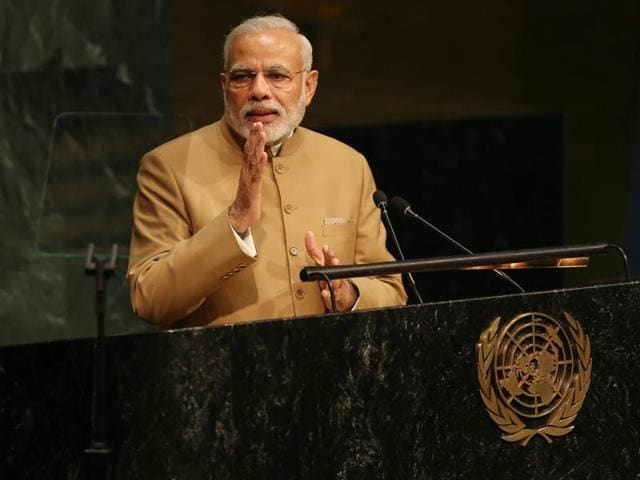 Indian Prime Minister Narendra Modi delivers his address during the United Nations Sustainable Development Summit at United Nations headquarters in New York.