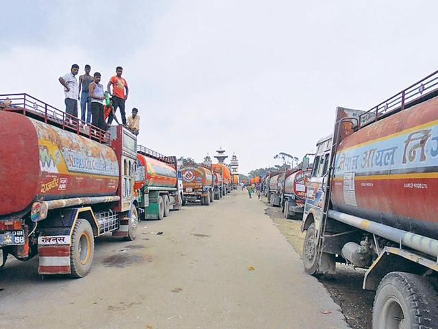 Trucks at Bihar-Nepal border remain halted as trading between India and Nepal have been hit by the protests over the new constitution,