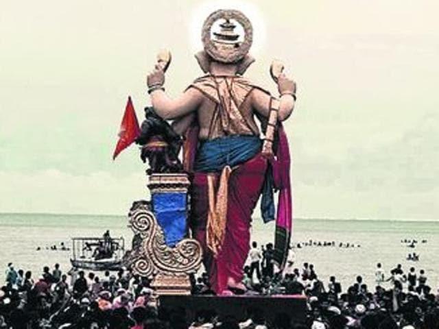 Ganesh idols in Mumbai making their final journey to the sea