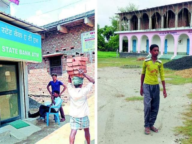 (Right) An ATM in Nitish's  ancestral village Kalyan Bigha. (Left) The school in Nitish's adopted village Gandamal where 23 children died after consuming a mid-day meal in 2013.