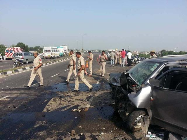 Remain of the ill-fated car that met with an accident on the NH-1 highway in Karnal on Saturday morning.