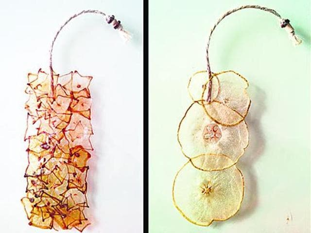 Bookmarks made with fruits