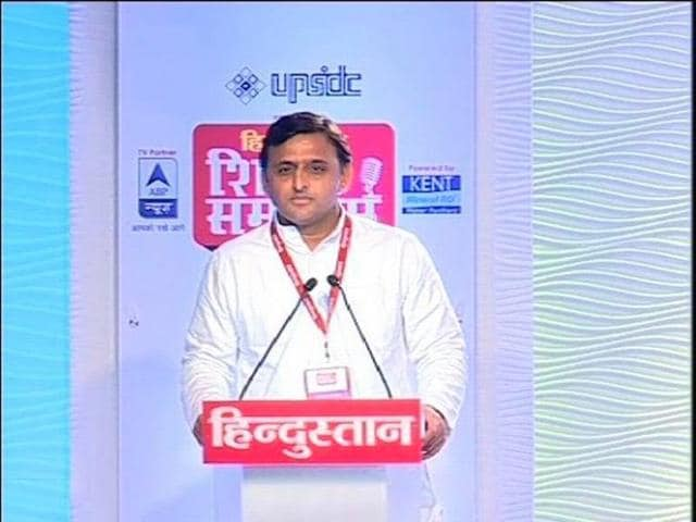 A TV grab shows UP CM Akhilesh Yadav speaking the Hindustan Shikhar Samagam.
