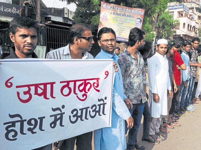 Muslims  staged a demonstration at Regal crossing in Indore on Saturday to protest against BJP MLA Usha Thakur's statement on Eid-ul-Zuha.