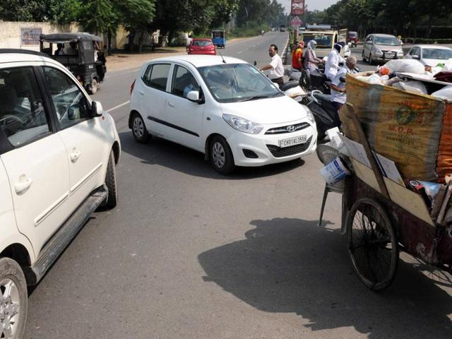 Chaos at the Urban Estate Chowk situated on the Rajpura road in Patiala on Saturday.