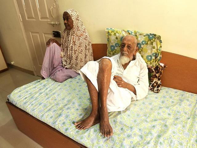 Saleem Shaikh's parents- Sabira (80) and Yusuf (100yr)- and their Panvel residence in Navi Mumbai.