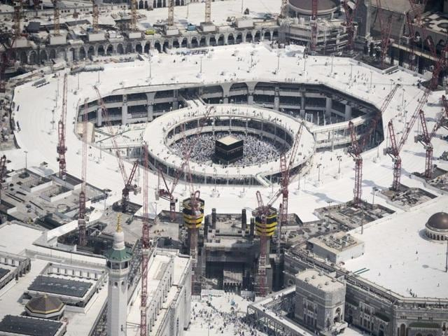 An aerial view shows the Grand mosque and the Kaaba (center) in Saudi Arabia's holy Muslim city of Mecca.