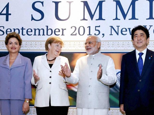 Prime Minister Narendra Modi, German Chancellor Angela Merkel, Brazilian President Dilma Rousseff and Japanese Prime Minister Shinzo Abe at G4 Summit in