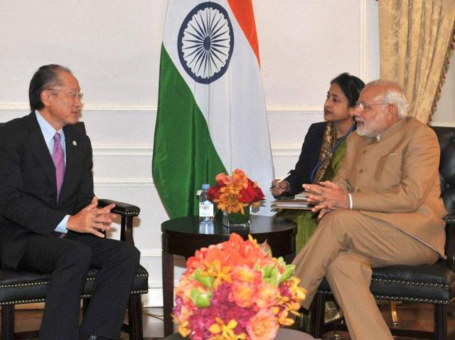 Prime Minister Narendra Modi with World Bank President Jim Yong Kim in a meeting in New York on Friday.
