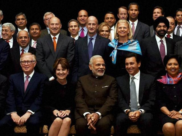 Prime Minister Narendra Modi poses for a group photo after an interaction with CEOs in New York.