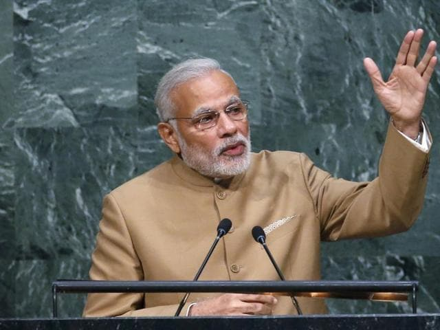 PM Narendra Modi addresses a plenary meeting of the United Nations Sustainable Development Summit 2015 at United Nations headquarters in Manhattan, New York.