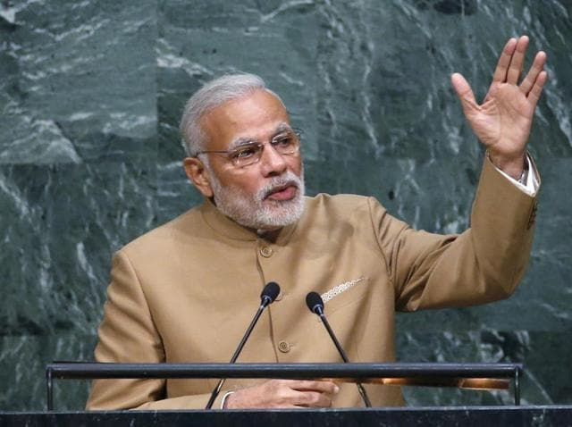 PM Narendra Modi addresses a plenary meeting of the United Nations Sustainable Development Summit 2015 at United Nations headquarters in Manhattan, New York