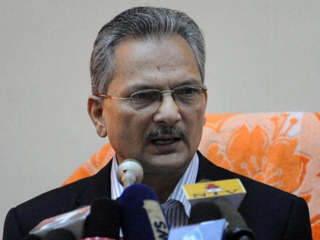A file picture shows Nepal's then-prime minister Baburam Bhattarai delivering an address after taking office in Kathmandu. Nepal's former Maoist premier Baburam Bhattarai resigned from his party and parliament.