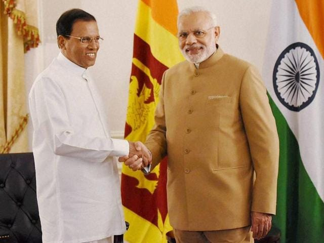 Prime Minister Narendra Modi shakes hands with Sri Lankan President Maithripala Sirisena at a meeting in New York on Friday.
