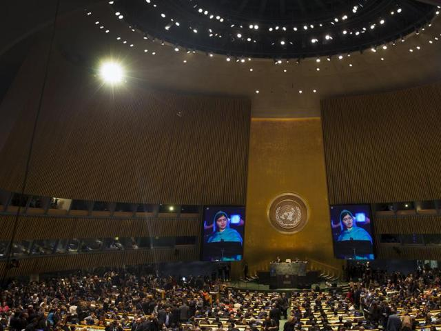 An image of Nobel peace laureate Malala Yousafzai is projected on screens as she speaks from a balcony to a plenary meeting of the United Nations Sustainable Development Summit 2015 at the United Nations headquarters in Manhattan, New York.