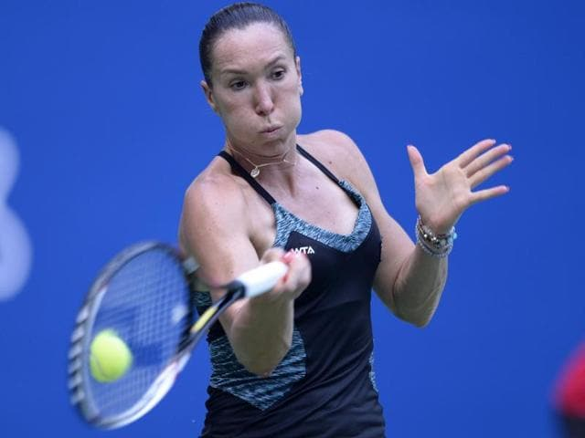 Jelena Jankovic of Serbia during her semifnal match of the Guangzhou Open against Yanina Wickmayer of Belgium, on September 25,