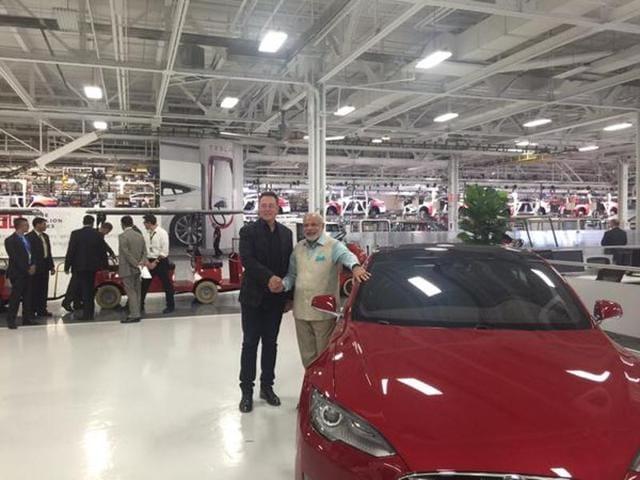 Prime Minister Narendra Modi with Tesla Motors CEO Elon Musk.