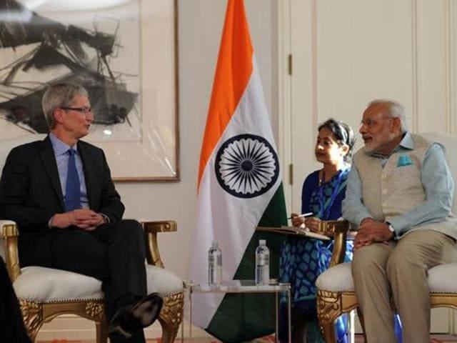 Apple CEOTim Cook meeting Prime Minister Narendra Modi.