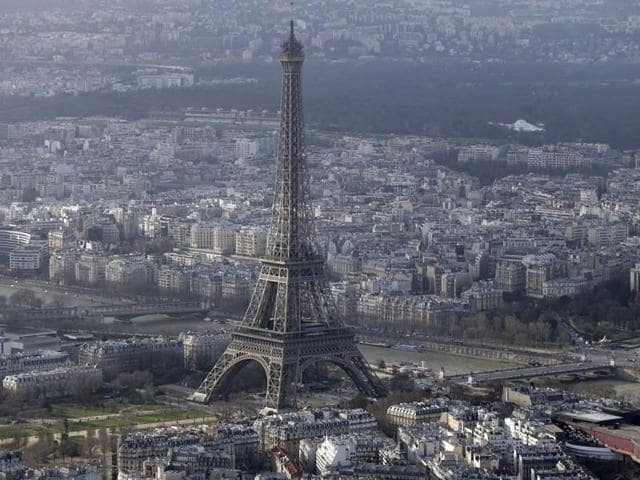 An aerial file photo of the Eiffel Tower in Paris.