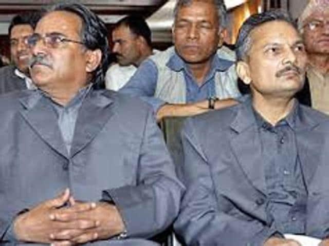 Former Nepal PM Baburam Bhattarai (right) with Pushpa Kamal Dahal 'Prachanda'.