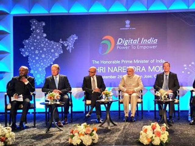 Prime Minister Narendra Modi at a 'Digital India' event in San Jose.