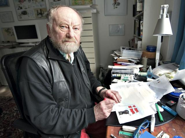 Danish cartoonist Kurt Westergaard from Jyllands-Posten making his last drawing for the newspaper, in Viby. Kurt Westergaard, has received numerous death threats and lives under police protection since his caricature of the Prophet Mohammed as a swarthy man with a bomb swaddled in his turban .