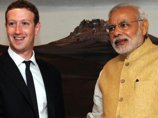 Facebook CEO Mark Zuckerberg shakes hands with Prime Minister Narendra Modi before their meeting in New Delhi.