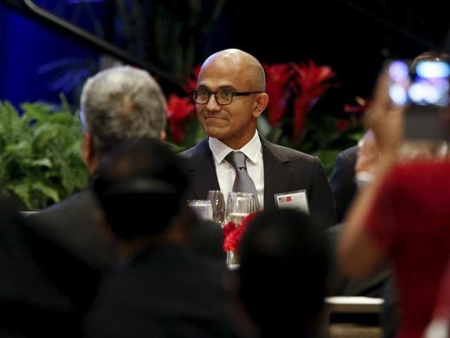 Microsoft CEO Satya Nadella attends a dinner reception where Chinese President Xi Jinping is delivering a policy speech to Chinese and United States' CEOs during a dinner reception in Seattle, Washington.