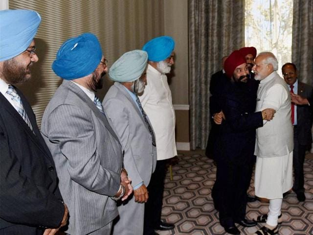 Prime Minister Narendra Modi during a meeting with Sikh community delegation in San Jose on Saturday.