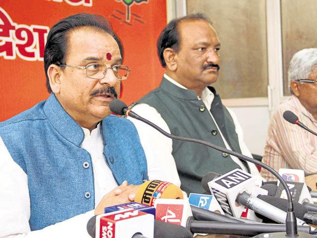 Leader of the opposition in the state assembly Ajay Bhatt addressing a press conference in Dehradun on Monday.
