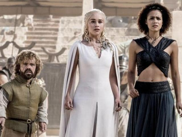 Michiel Huisman, Peter Dinklage, Emilia Clarke, Nathalie Emmanuel and Iain Glen in  a still from Game of Thrones season 5.