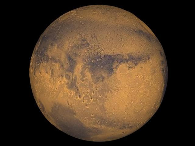 Mars true-colour image released by Nasa.