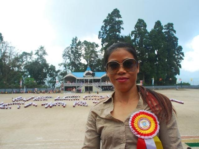 Mary Kom at the annual sports of Nepali Girls High Secondary School, Darjeeling.