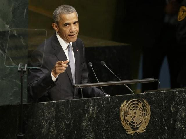 United States President Barack Obama addresses the 70th session of the United Nations General Assembly at UN headquarters. (AP Photo)