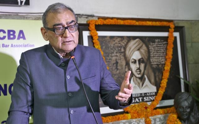 Chandigarh, India –Katju, a former chairman of the Press Council of India, was addressing lawyers at the Punjab and Haryana high court during a function organised by the Lawyers for Democracy, a young lawyers' group .(Gurpreet Singh/Hindustan Times)