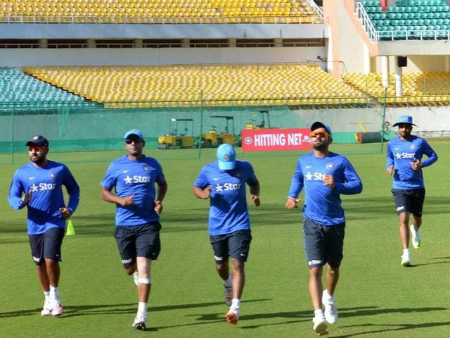 Team India players during a practice session for the upcoming Nelson Mandela- Mahatma Gandhi T20 series against South Africa in Dharamshala on Monday.