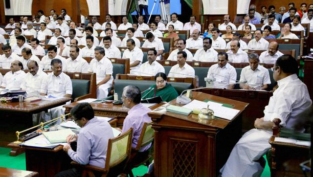 Tamil Nadu Chief Minister J Jayalalithaa moving a resolution in the state Assembly in Chennai.