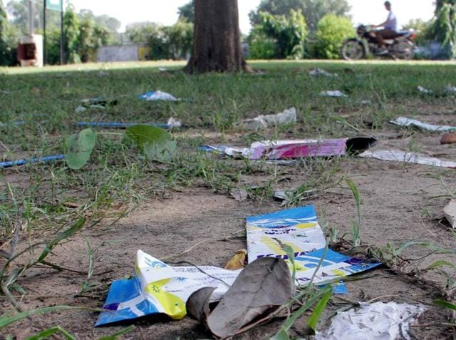 Litter strewn in the open at PAU campus after culmination of the two-day long Kisan Mela.