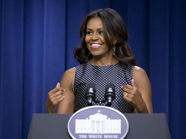 First Lady Michelle Obama introduced a new campaign focusing on education for girls around the world at the Global Citizen Festival in New York City on Saturday.