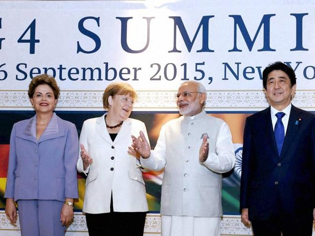 Prime Minister Narendra Modi, German Chancellor Angela Merkel, Brazilian President Dilma Rousseff and Japanese Prime Minister Shinzo Abe at G4 Summit in New York on Saturday.