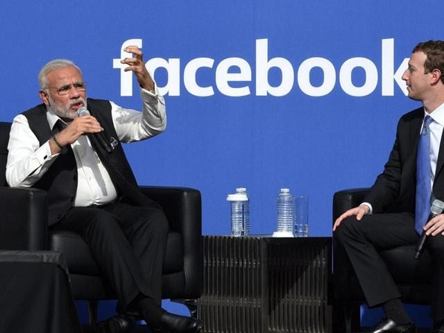 PM Modi and Mark Zuckerberg at a town hall event at Facebook HQ.